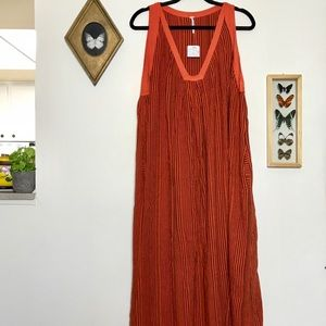 Free People Orange Striped Sleeveless Maxi Dress